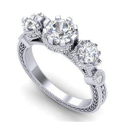1.75 CTW VS/SI Diamond Solitaire Art Deco 3 Stone Ring 18K White Gold - REF-309M3H - 37070