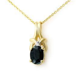 1.12 CTW Blue Sapphire & Diamond Pendant 10K Yellow Gold - REF-9H6A - 12745