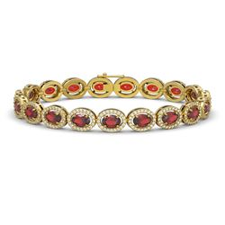 14.63 CTW Garnet & Diamond Halo Bracelet 10K Yellow Gold - REF-228H2A - 40498