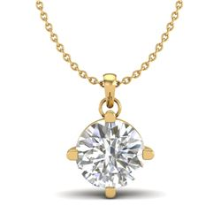 1 CTW VS/SI Diamond Solitaire Art Deco Stud Necklace 18K Yellow Gold - REF-285X2T - 37234