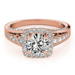 1.75 CTW Certified VS/SI Diamond Solitaire Halo Ring 18K Rose Gold - REF-424M2H - 26944