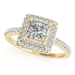 0.85 CTW Certified VS/SI Princess Diamond Solitaire Halo Ring 18K Yellow Gold - REF-136H4A - 27140