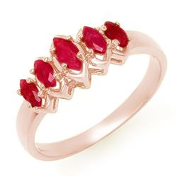 0.50 CTW Ruby Ring 14K Rose Gold - REF-22X5T - 13135