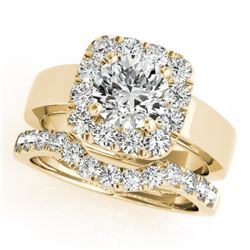 1.8 CTW Certified VS/SI Diamond 2Pc Wedding Set Solitaire Halo 14K Yellow Gold - REF-265F3N - 31228