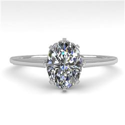 1.0 CTW VS/SI Oval Diamond Solitaire Engagement Ring 18K White Gold - REF-283H5A - 35748