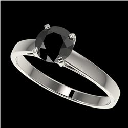 1 CTW Fancy Black VS Diamond Solitaire Engagement Ring 10K White Gold - REF-28N3Y - 32984