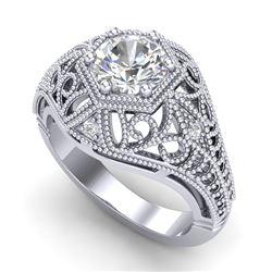 1.07 CTW VS/SI Diamond Art Deco Ring 18K White Gold - REF-322Y5K - 36917