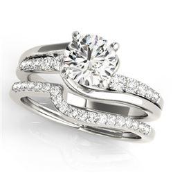 1.1 CTW Certified VS/SI Diamond Bypass Solitaire 2Pc Wedding Set 14K White Gold - REF-141K3W - 31847