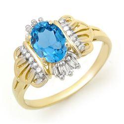 0.97 CTW Blue Topaz & Diamond Ring 10K Yellow Gold - REF-18T4M - 12373
