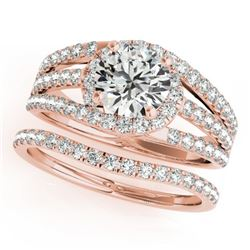 1.15 CTW Certified VS/SI Diamond Solitaire 2Pc Wedding Set 14K Rose Gold - REF-152H8A - 32007