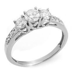 1.0 CTW Certified VS/SI Diamond Ring 14K White Gold - REF-87H5A - 10197