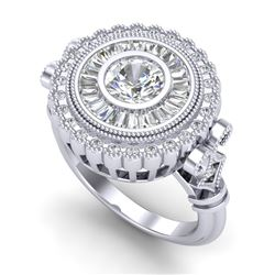 2.03 CTW VS/SI Diamond Solitaire Art Deco Ring 18K White Gold - REF-327T3M - 37079