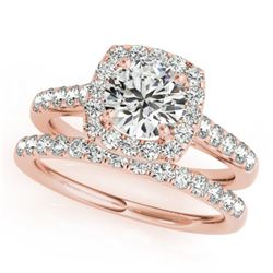 1.70 CTW Certified VS/SI Diamond 2Pc Wedding Set Solitaire Halo 14K Rose Gold - REF-235H3A - 30718