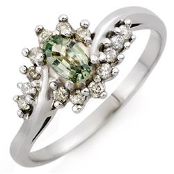 0.55 CTW Green Sapphire & Diamond Ring 10K White Gold - REF-22H8A - 10214