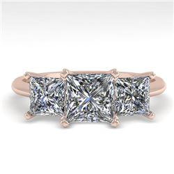 2.0 CTW Princess VS/SI Diamond 3 Stone Designer Ring 14K Rose Gold - REF-395H8A - 38499