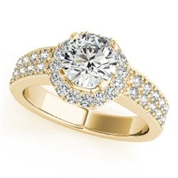 0.9 CTW Certified VS/SI Diamond Solitaire Halo Ring 18K Yellow Gold - REF-143A6X - 27071