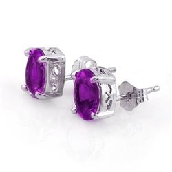 1.50 CTW Amethyst Earrings 14K White Gold - REF-13M5H - 10114