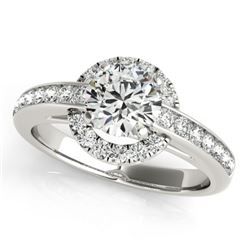 1.25 CTW Certified VS/SI Diamond Solitaire Halo Ring 18K White Gold - REF-226W2F - 26691