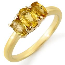 1.18 CTW Yellow Sapphire Ring Solid 10K Yellow Gold - REF-20N2Y - 10676