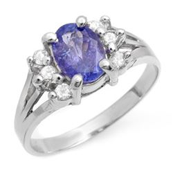 1.43 CTW Tanzanite & Diamond Ring 14K White Gold - REF-45X5T - 14407