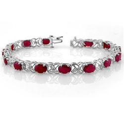 16.05 CTW Ruby & Diamond Bracelet 14K White Gold - REF-105K5W - 10480