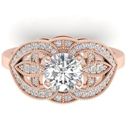 1.5 CTW Certified VS/SI Diamond Art Deco Micro Ring 14K Rose Gold - REF-376Y2K - 30511