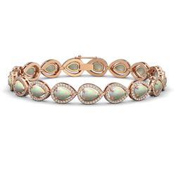 13.19 CTW Opal & Diamond Halo Bracelet 10K Rose Gold - REF-301Y5K - 41106