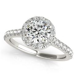 1.4 CTW Certified VS/SI Diamond Solitaire Halo Ring 18K White Gold - REF-377K6W - 26392