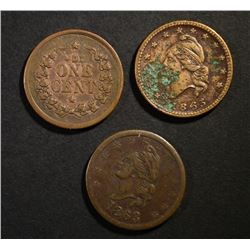 """3-CIVIL WAR TOKENS: """"IOU ONE CENT"""" & """"ARMY & NA"""