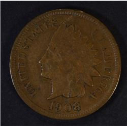 1908-S INDIAN HEAD CENT, F/VF