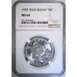 """1955 """"BUGS BUNNY"""" FRANKLIN HALF NGC MS-64"""