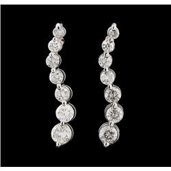 1.50 ctw Diamond Earrings - 14KT White Gold