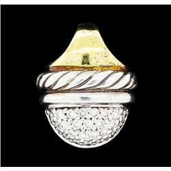 David Yurman 0.25 ctw Diamond Drop Pendant - Sterling Silver and 18KT Yellow Gol