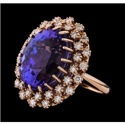 23.07 ctw Tanzanite and Diamond Ring - 14KT Rose Gold