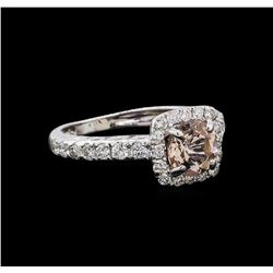 0.77 ctw Morganite and Diamond Ring - 14KT White Gold