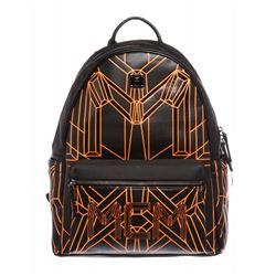 MCM Black Orange Visetos Bionic Backpack