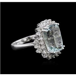 14KT White Gold 6.08 ctw Aquamarine and Diamond Ring