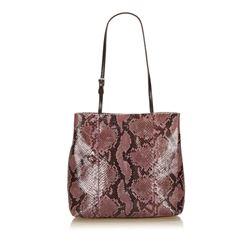 Prada Purple Black Brown Python Snakeskin Leather Shoulder Bag