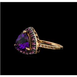 2.95 ctw Amethyst, Pink Sapphire, and Diamond Ring - 14KT Rose Gold