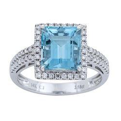 3.18 ctw Aquamarine and Diamond Ring - 14KT White Gold