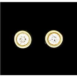 0.07 ctw Diamond Stud Earrings - 14KT Yellow Gold