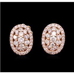 0.85 ctw Diamond Earrings - 14KT Rose Gold