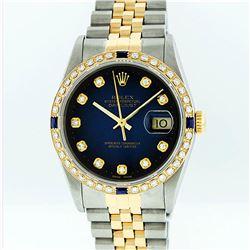 Rolex Two-Tone Diamond Blue Vignette and Sapphire DateJust Men's Watch