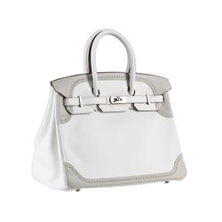 Hermes 35cm White and Gris Perle Swift Leather Ghillies Birkin Bag