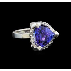 14KT White Gold 6.78 ctw Tanzanite and Diamond Ring