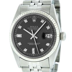 Mens Rolex Stainless Steel Dark Rhodium Diamond And White Gold Fluted Datejust W