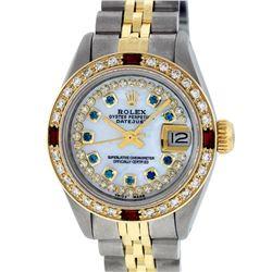 Rolex Ladies 2T MOP Sapphire String Diamond And Ruby Datejust Wristatch
