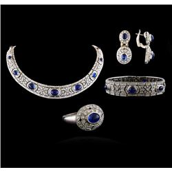 71.20 ctw Blue Sapphire and Diamond Ring, Necklace, Bracelet And Earrings Suite
