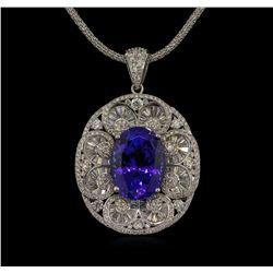 21.34 ctw GIA Cert Tanzanite and Diamond Pendant With Chain - 14KT White Gold