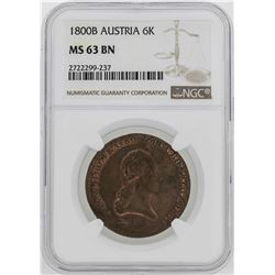 1800-B Austria 6 Kreuzer Coin NGC MS63BN